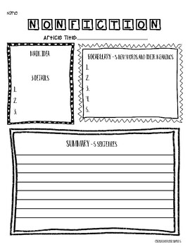 Nonfiction Graphic Organizer (For ANY Nonfiction Text)