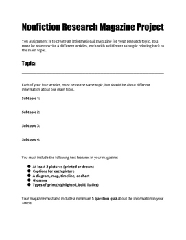 Nonfiction Group and Independent Research Project