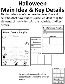 Nonfiction Halloween Main Idea and Details Activities Halloween Nonfiction Story