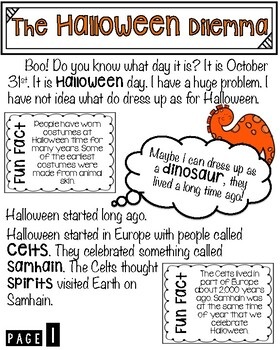 Nonfiction Halloween text and test prep questions