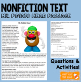 Nonfiction/Historical Mr. Potato Head Reading Passage with Questions