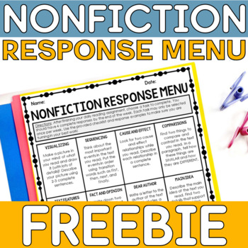 FREE Nonfiction Reading Response Menu
