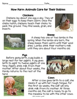 Nonfiction How Farm Animals Care for Their Babies