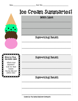 Nonfiction Ice Cream Summaries Using Main Idea and Detail