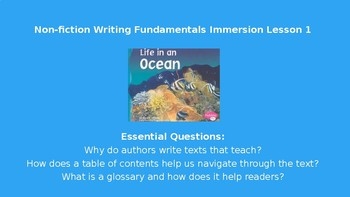Nonfiction Immersion Lesson 1 Life in an Ocean- Writing Fundamentals Compatible