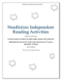Nonfiction Independent Reading Activities  Above level 1st