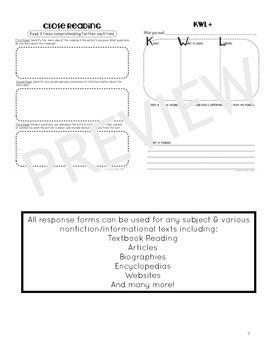Nonfiction Reading Response Printables
