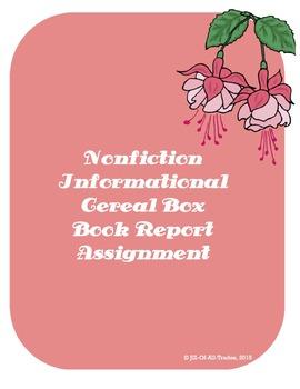 Nonfiction Informational Cereal Box Book Report, grades 3-5