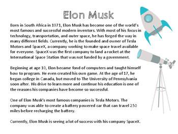 Nonfiction Informational Paired Passage: Inventors - Ben Franklin and Elon Musk
