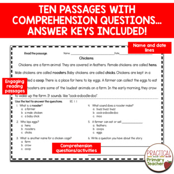 Nonfiction / Informational Passages and Questions for Assessment CCSS RI.1.1