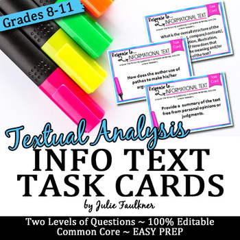 Nonfiction Info Text Analysis Task Cards, Comprehension, Prompts, Any Info Text