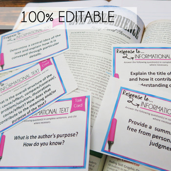 Info Text Analysis Task Cards, Response to a Text, Analysis of any Nonfiction