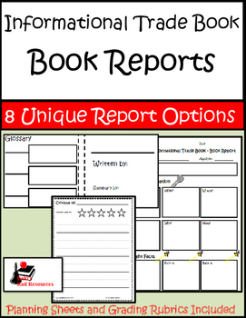Nonfiction / Informational Trade Book - Book Reports Package - 8 Unique Options