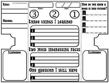Nonfiction Interactive Notebook Foldable 3-2-1