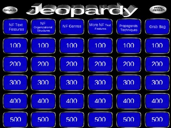 Nonfiction Jeopardy Game
