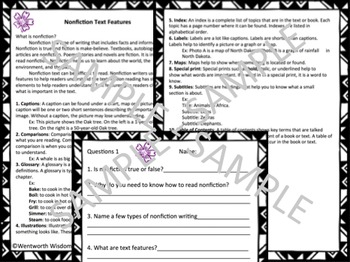 Nonfiction Text Features Reading comprehension Reading assessment