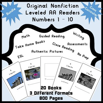 Guided Reading Nonfiction Leveled AA Readers Numbers 1-10 Math, Writing, Bundle