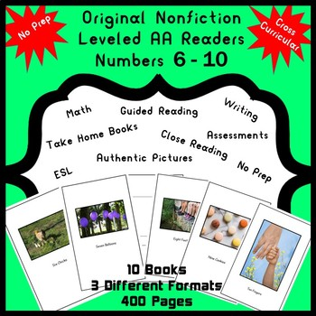 Nonfiction Readers Leveled AA  Numbers 6 - 10 Math, Guided Reading, Writing, ESL