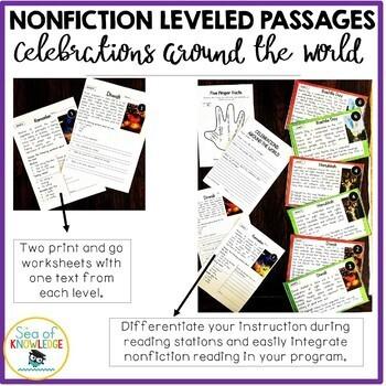 Nonfiction Leveled Reading Passages - Celebrations Around the World