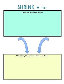 Nonfiction Main Idea: Shrink a Text