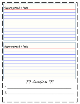Nonfiction Notes Graphic Organizer