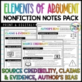Nonfiction Notes Pack: Claims & Evidence, Source Credibility, Author's Bias