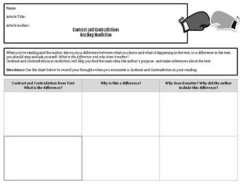 Nonfiction Notice and Note: Contrast and Contradictions Graphic Organizer