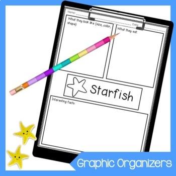Ocean Animal Informational Writing Graphic Organizers
