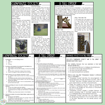Nonfiction Paired Passages FREEBIE: Zoo Animals