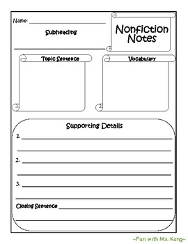 Nonfiction Paragraph Writing Graphic Organizer