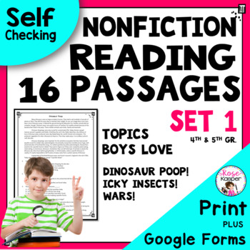 Reading Passages for 4th Grade and 5th Grade SET 1