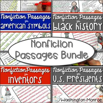 Nonfiction Passage BUNDLE Black History, American Symbols, Inventors, Presidents
