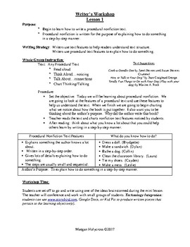 Nonfiction Procedural Writing:  1st Grade