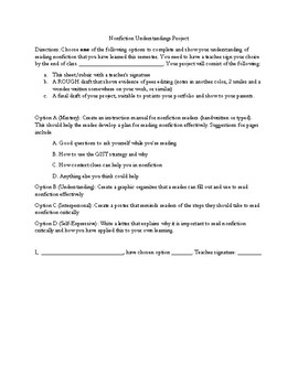 Nonfiction Project Menu and Rubric