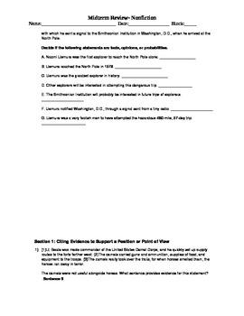 Nonfiction Quiz- CiteEvidence, IdentifySimilarities, Fact/Opinion/Probability