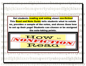 Notetaking Guide for Reading and Noting with Nonfiction