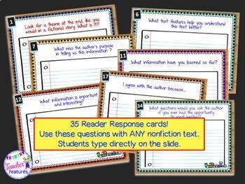 Google Classroom Reading Response Digital Task Cards (Nonfiction)