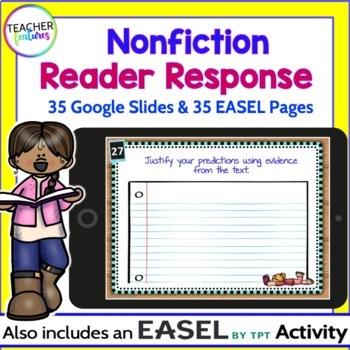 Google Classroom Reading Response Paperless Digital Task Cards (Nonfiction)