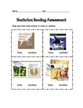Nonfiction Reading Assessment First Grade