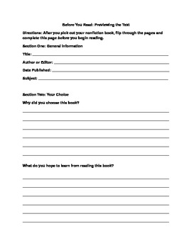 Nonfiction Reading Book Project for Independent Reading