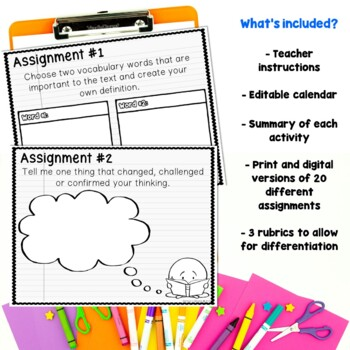 Nonfiction Reading Choice Activity Calendar Worksheets and for Google Classroom