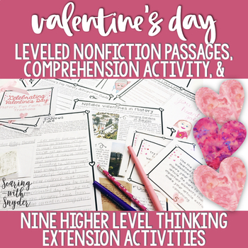Valentine's Day Nonfiction Reading Comprehension + Leveled Texts and Task Cards