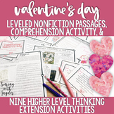Valentine's Day Nonfiction Reading Comprehension + Leveled