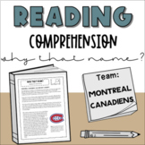 Nonfiction Reading Comprehension: Montreal Canadiens   Why