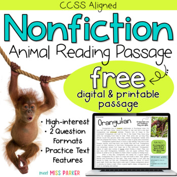 FREE Nonfiction Reading Comprehension Passage - Animals DIGITAL ...