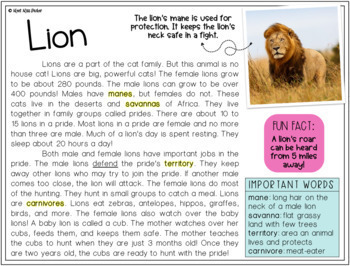 Nonfiction Reading Comprehension Passages - Animals PRINTABLE ONLY