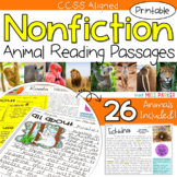 Nonfiction Reading Comprehension Passages & Questions - Animals PRINTABLE ONLY