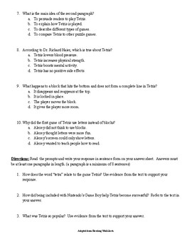 Nonfiction Reading Comprehension Passage and Questions