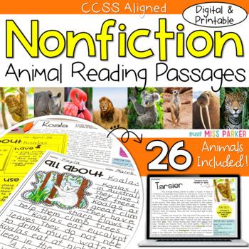 Nonfiction Reading Comprehension Passages - Animals DIGITAL & PRINTABLE BUNDLE