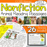 Nonfiction Reading Comprehension Passages - Animals DIGITAL & PRINTABLE BUNDLE